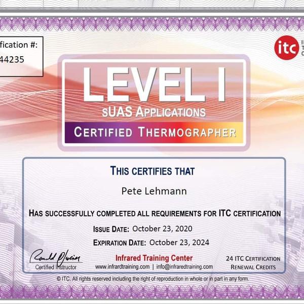 FLIR ITC Level 1 sUAS Thermographer Certificate