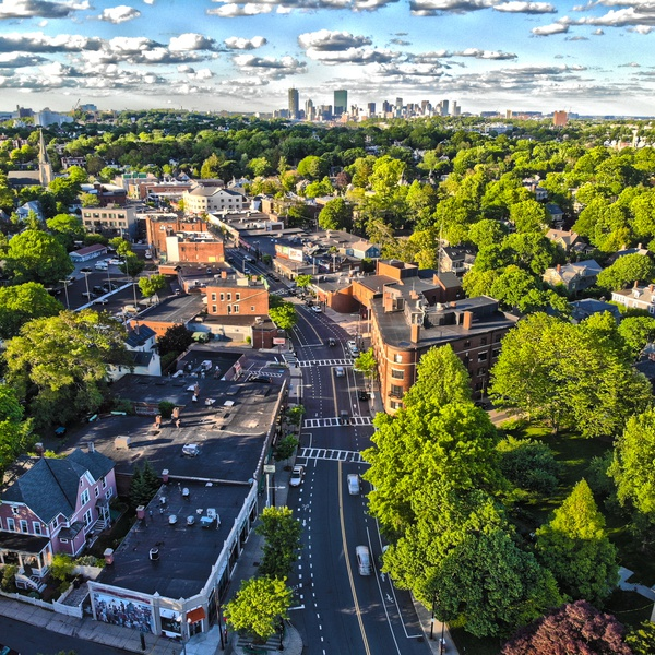 View of Boston, MA from Jamaica Plain, MA.