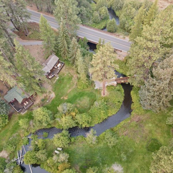 Aerial of Lake Creek Lodge Cabins