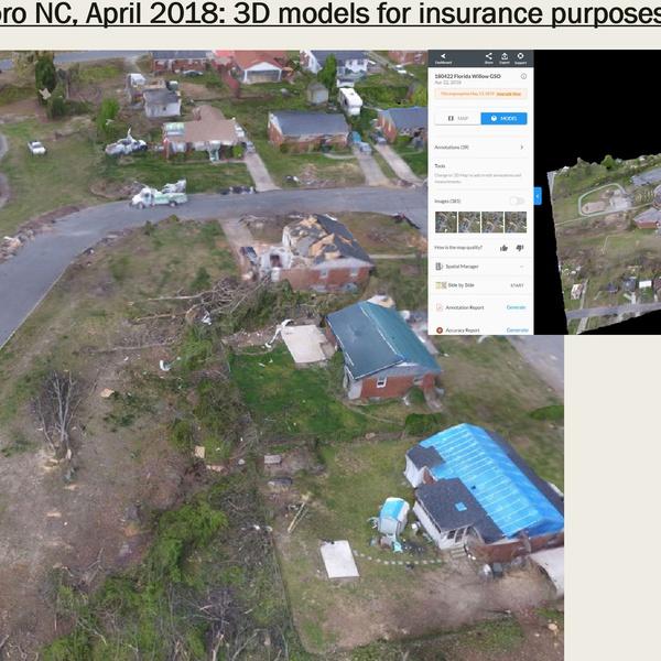 Tornado damage (2018) documentation, 3D model development and damage assessment by Licensed Public Adjuster (DOI)/Inspector (ACCP)/Engineer/Pilot3D