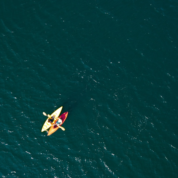 Kayaks On A Lake