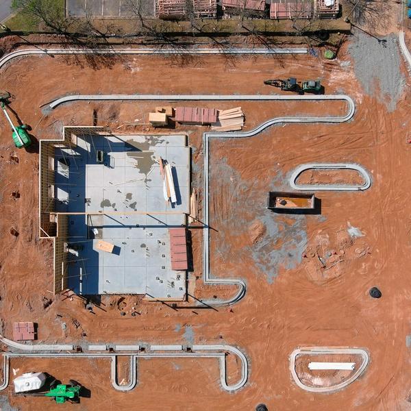 Construction site progression photos.