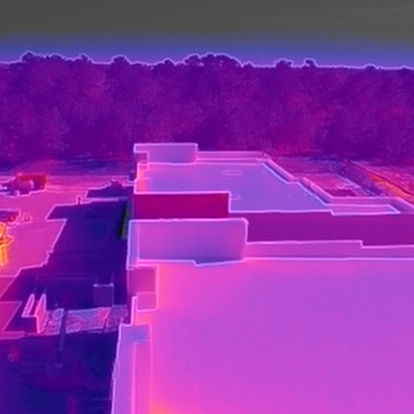 Thermal image looking for breaks in roofing seams of special materials