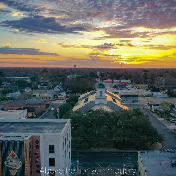 Sunrise over a Cajun town