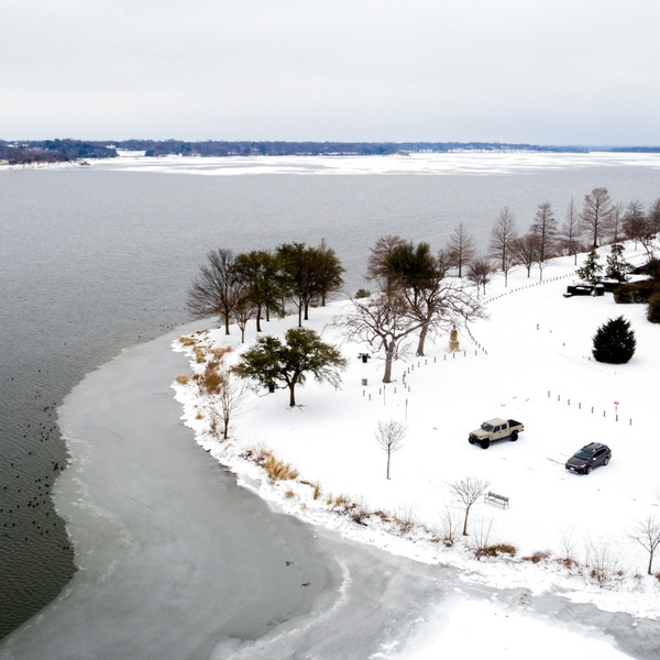 Frozen White Rock Lake, Dallas TX