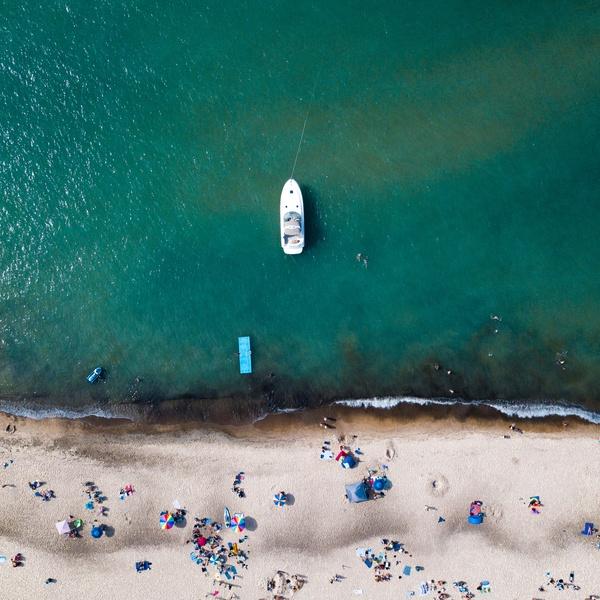 Crowded beach at Lake Michigan