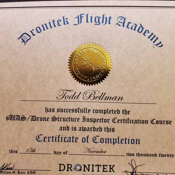 Dronitek Precision Agriculture Cert.