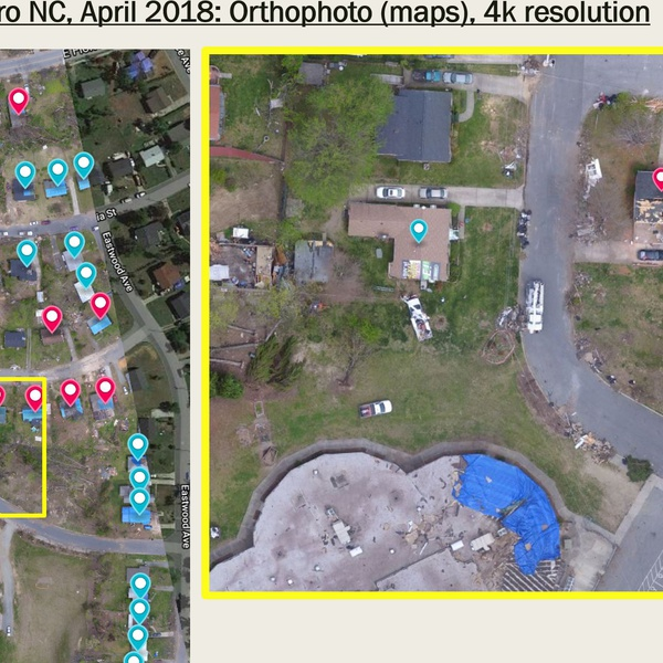 Tornado damage (2018) documentation, 2D map and damage assessment by Licensed Public Adjuster (DOI)/Inspector (ACCP)/Engineer/Pilot