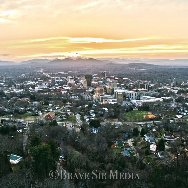 Sunset aerial view of Asheville, NC