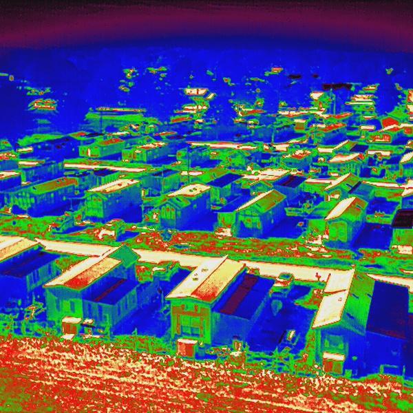 Radiometric thermal image of mobile home park.