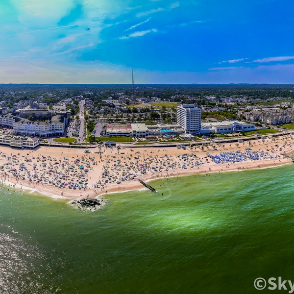Pano of Long Branch beach in NJ - almost got clipped by a Coast Guard helicopter. 26 image merge