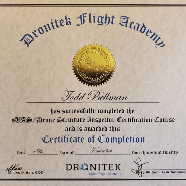 Dronitek Structure Inspection Cert.