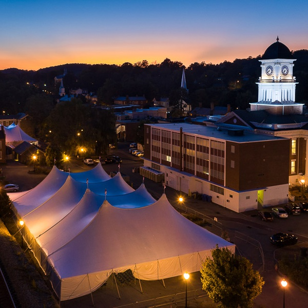 A dusk shot of the National Storytelling Festival Grounds. Highlighting the tent an the town Court House.