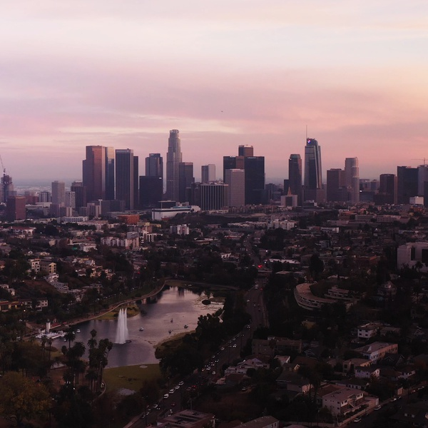 Downtown Los Angeles with Echo Lake at Sunset