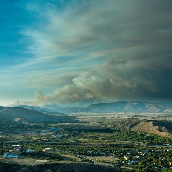 Late afternoon showing smoke of fire from Clarkdale, AZ