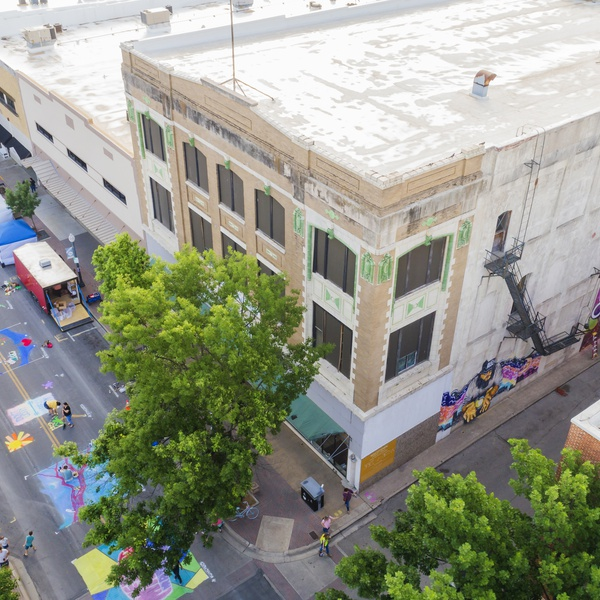 Aerial of Chalk Walk event in Waco