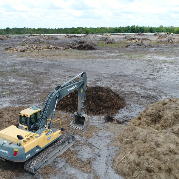 Construction site volume measurements of debris piles.