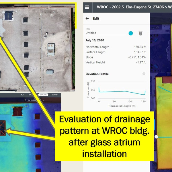 Roof Drainage Slope Inspection by Licensed Inspector/Engineer/Pilot