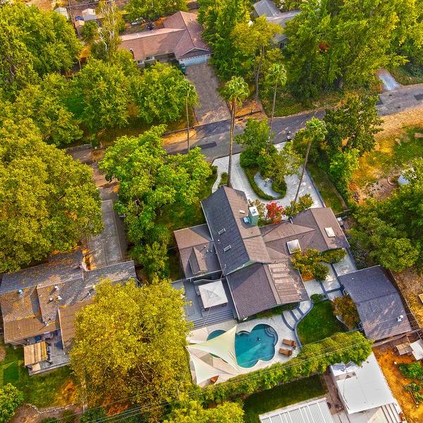 Tilted aerial shot of a beautiful home in Fair Oaks, California