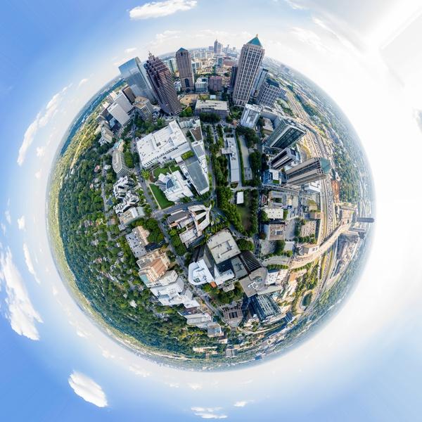 Tiny Planet effect enphasizing global area