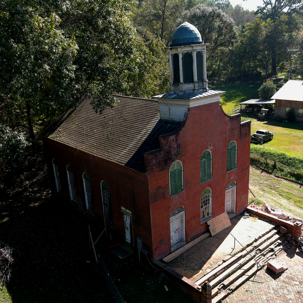 Church reconstruction photo in Rodney, MS. Services donated to The Rodney History & Preservation Society.