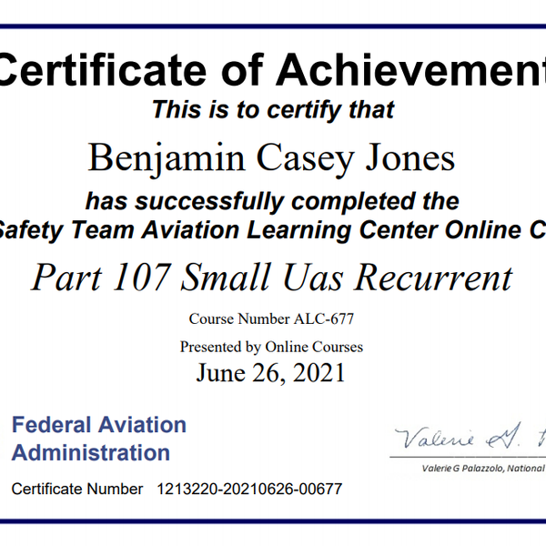 Part 107 Small UAS - Night and Over crowds certification