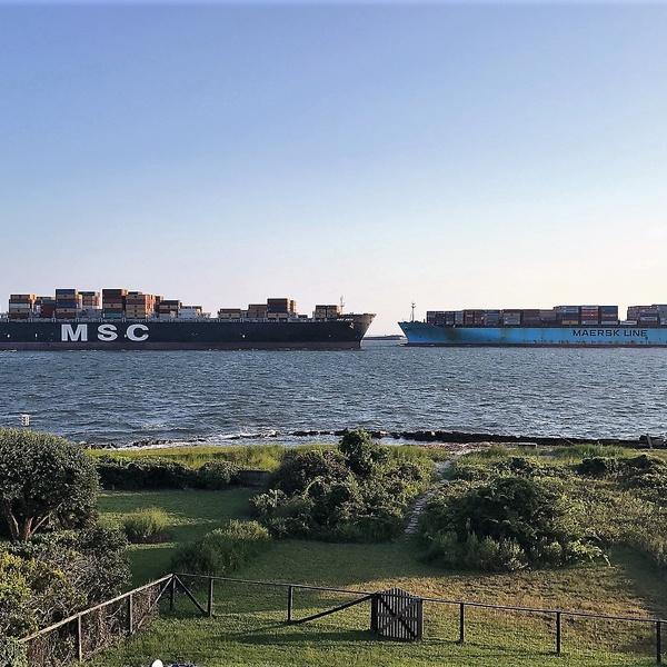 Ships leaving/coming Charleston Harbor in Charleston, South Carolina