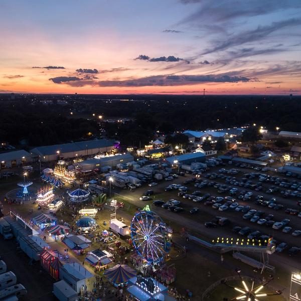 Anoka County Fair Sunset Drone Aerial