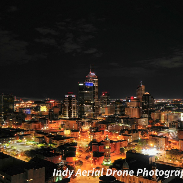 Indianapolis night skyline.