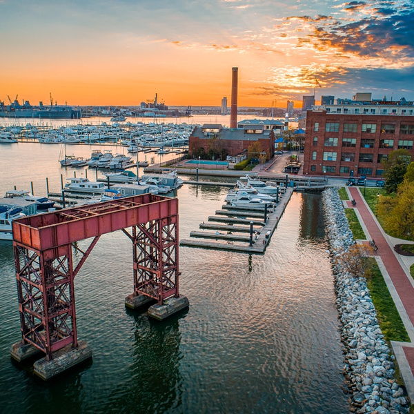 Sunset Aerial in Baltimore
