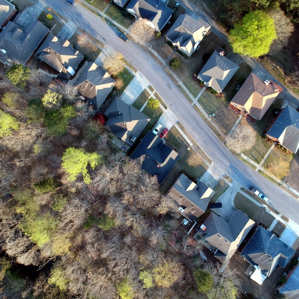Aerial view of a Hoover subdivision