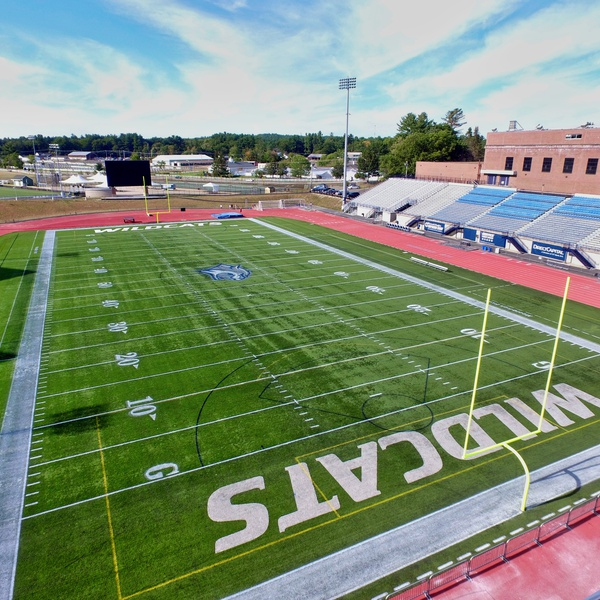Promotional photo of UNH Wildcats football field in New Hampshire