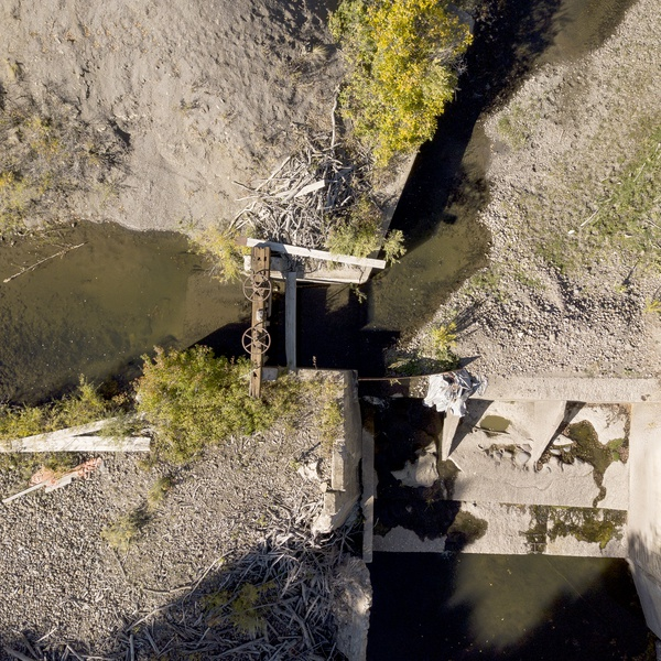 Sluice gate condition and layout, Crawford, Colorado