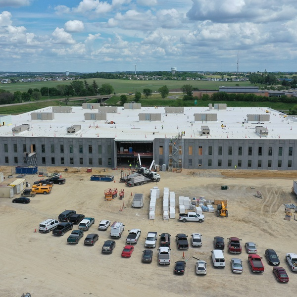 construction progress continues on the BAE site south of Cedar Rapids near the airport.