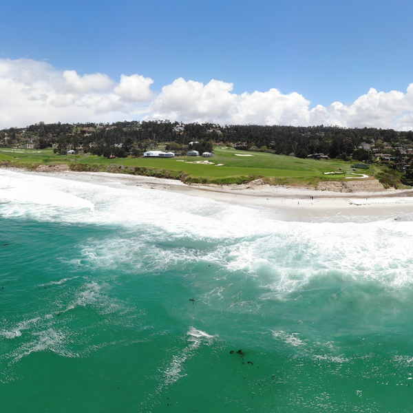 180 Pano of Pebble Beach view from ocean to 9th hole