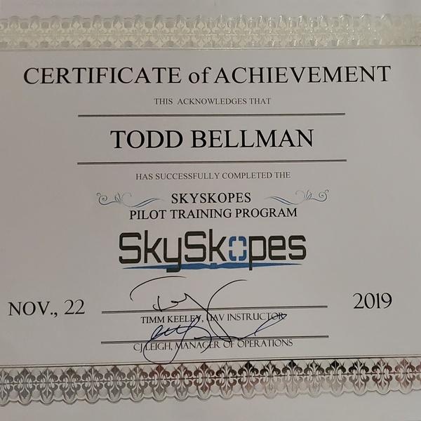 Pilot Training Cert. Skyskopes