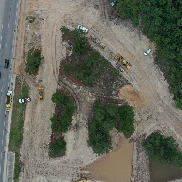 Aerial directly above construction site