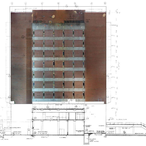 Inspection of NCSU DHL library facade - overlaying orthophoto over original dwgs by Licensed Inspector/Engineer/Pilot