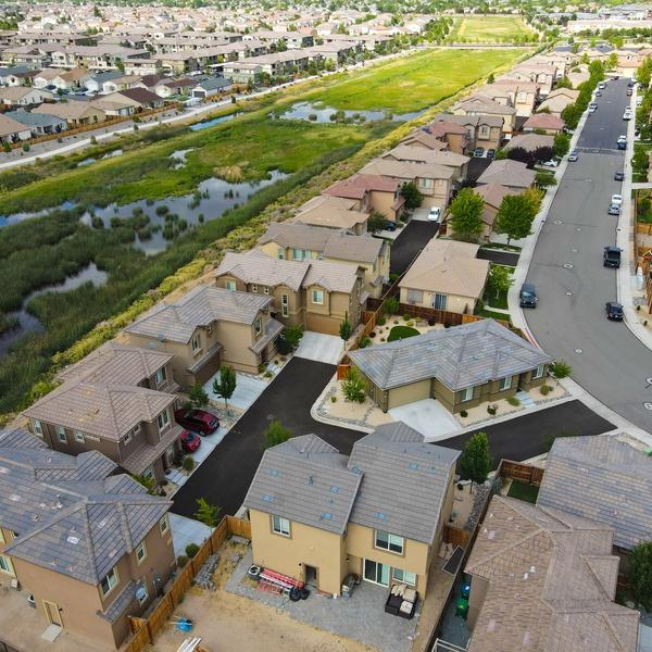 Neighborhood aerial shot