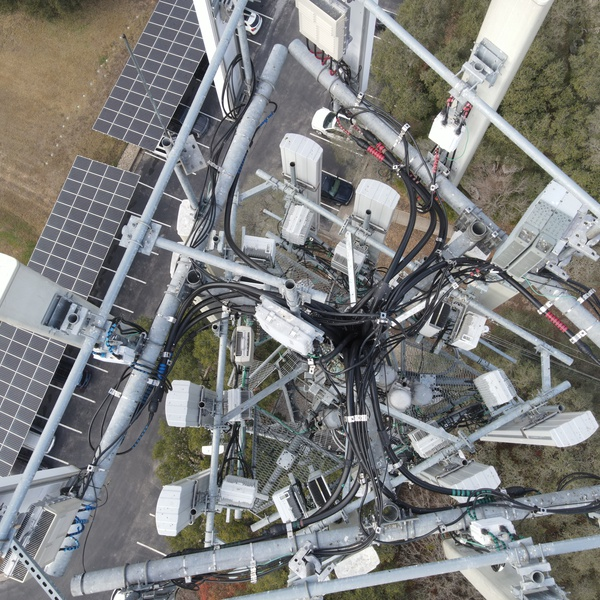 Top of cell tower for inspection