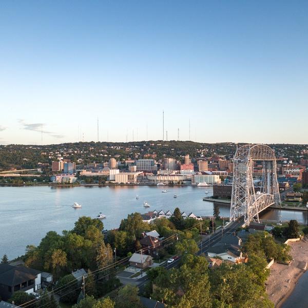 Lift Bridge Sunrise - Visit Duluth Aerial