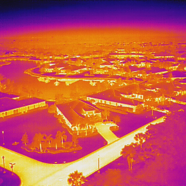 Drone thermal image of HOA community.