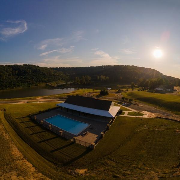 Pool & Clubhouse @ SouthWater, Lake Guntersville. Aerial Marketing Image