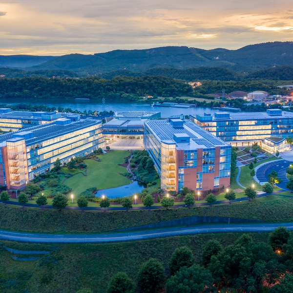 Blue Cross and Blue Shield Chattanooga Headquarters at dusk