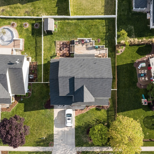 Top-Down view of a house in a rural neighborhood.