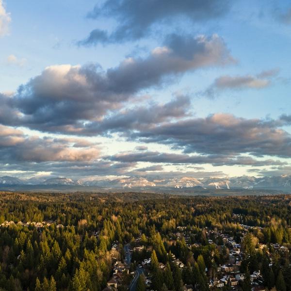 Sunrise on the Cascade range