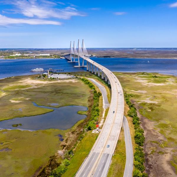 Aerial Cable-stayed bridge Sidney Lanier Bridge