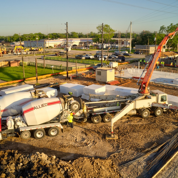 Boom truck arm during foundation pour