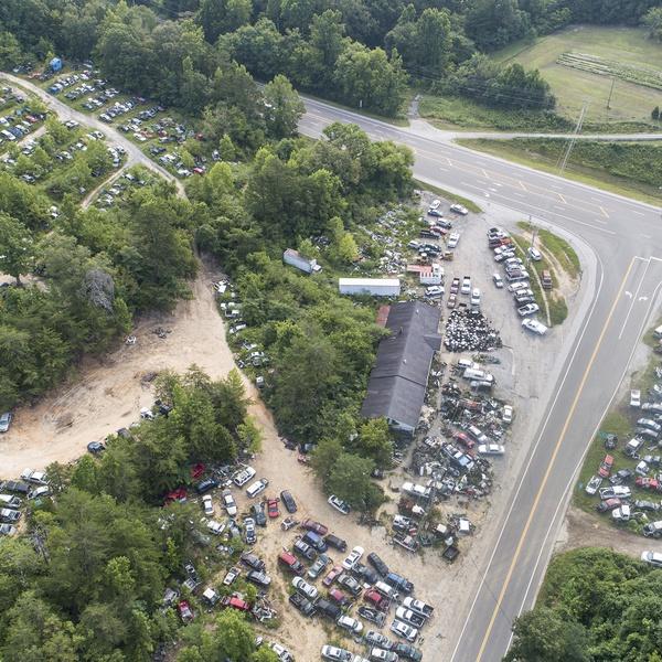 Aerial Photograph of Glenn's Junkyard in Rockwood, TN